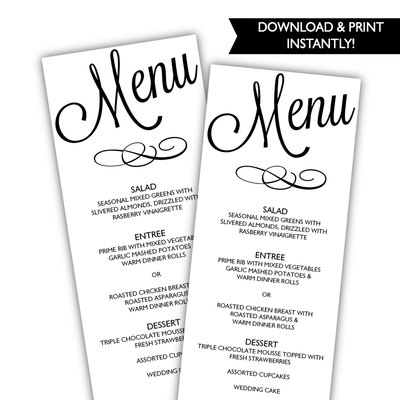 Printable Wedding Menu Template - Wedding Menu - DIY Menu Template - wedding menu template