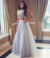 Grey prom dress,A-line two pieces evening gown ,formal ...