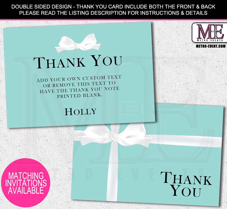 Bridal Shower Thank You Cards Metro-Events on Storenvy