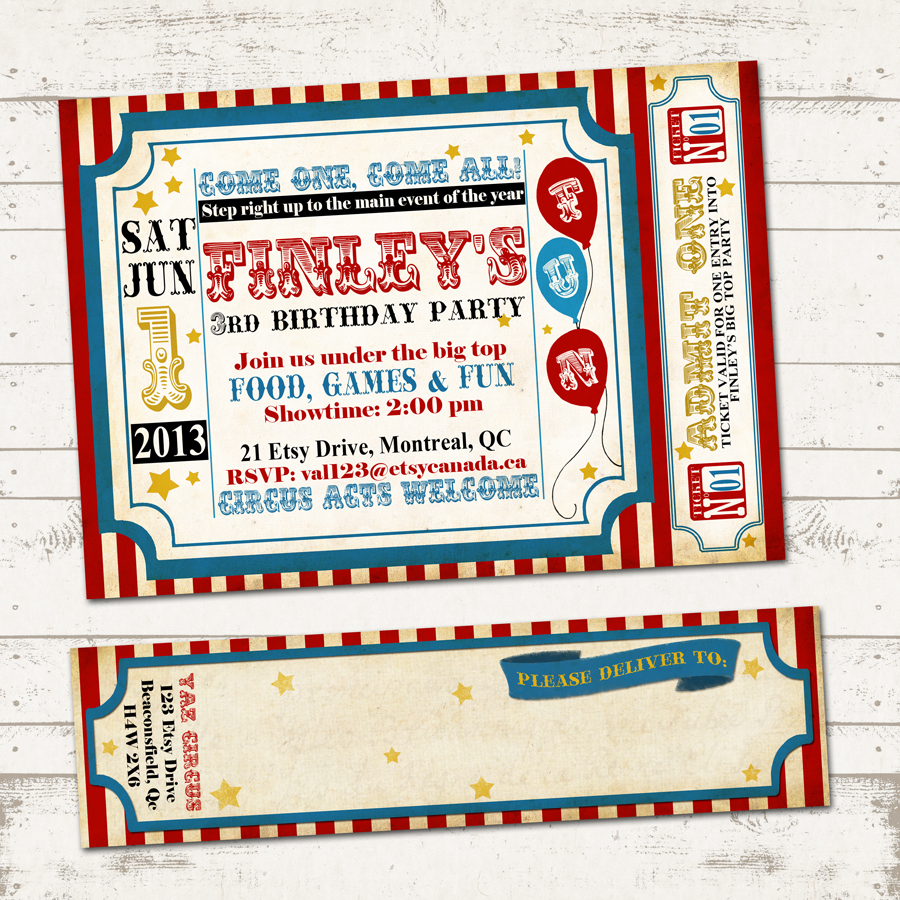 Circus Birthday Invitation With Wrap Around Address Labels