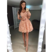 2018 Blush Pink Lace Short Homecoming Dress,Cocktail Dress ...