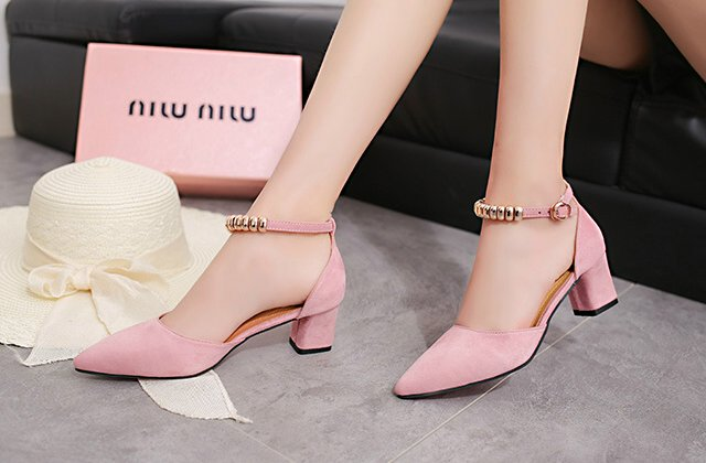 Medium Heel Shoes Bead Pink On Storenvy