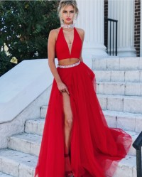 Red Evening Gowns,Two Piece Prom Dress,High Neck Prom ...