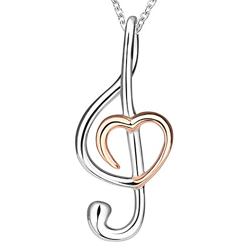 Musical Treble Clef Heart Pendant Necklace on Storenvy