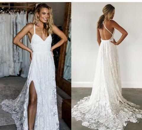 Simple Elegant Lace Beach Wedding Dresses Crisscross Back Sexy Rose
