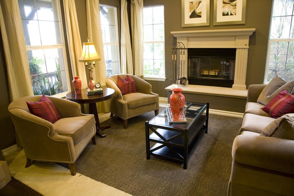 47 Beautifully Decorated Living Room Designs - red and brown living room
