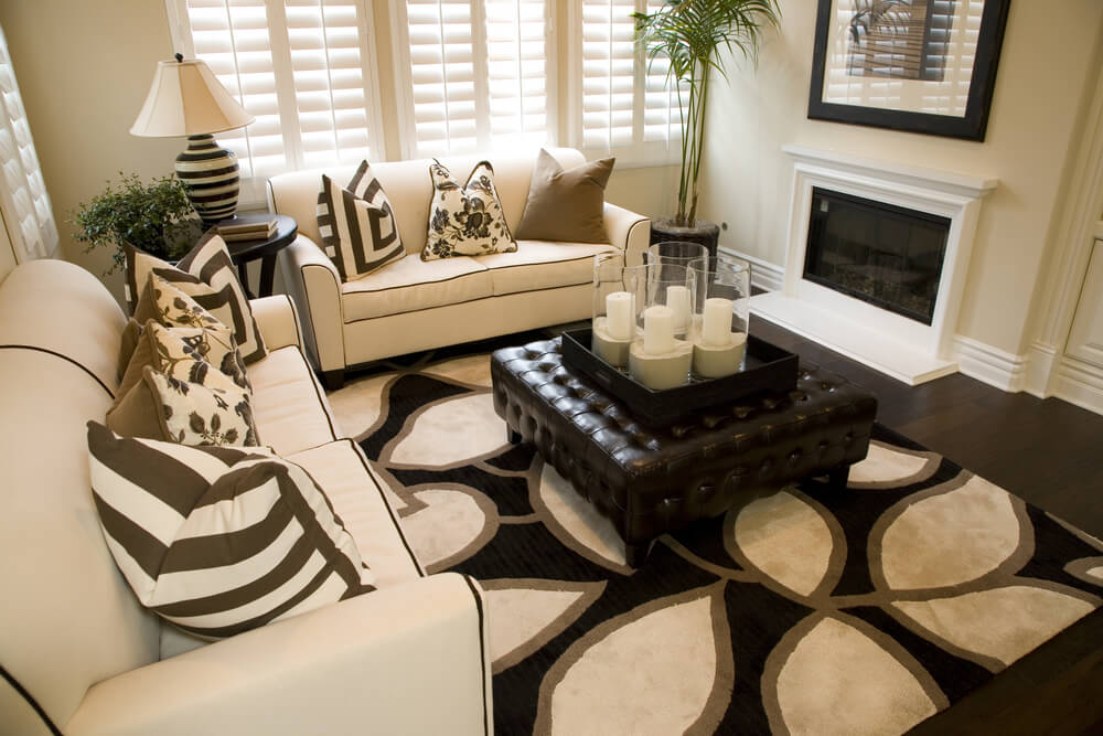 47 Beautifully Decorated Living Room Designs - black white and gold living room ideas