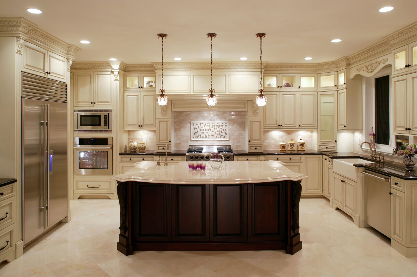 u shaped kitchen designs kitchens designs This U shaped kitchen centers around a large dark wood island with classic marble countertop