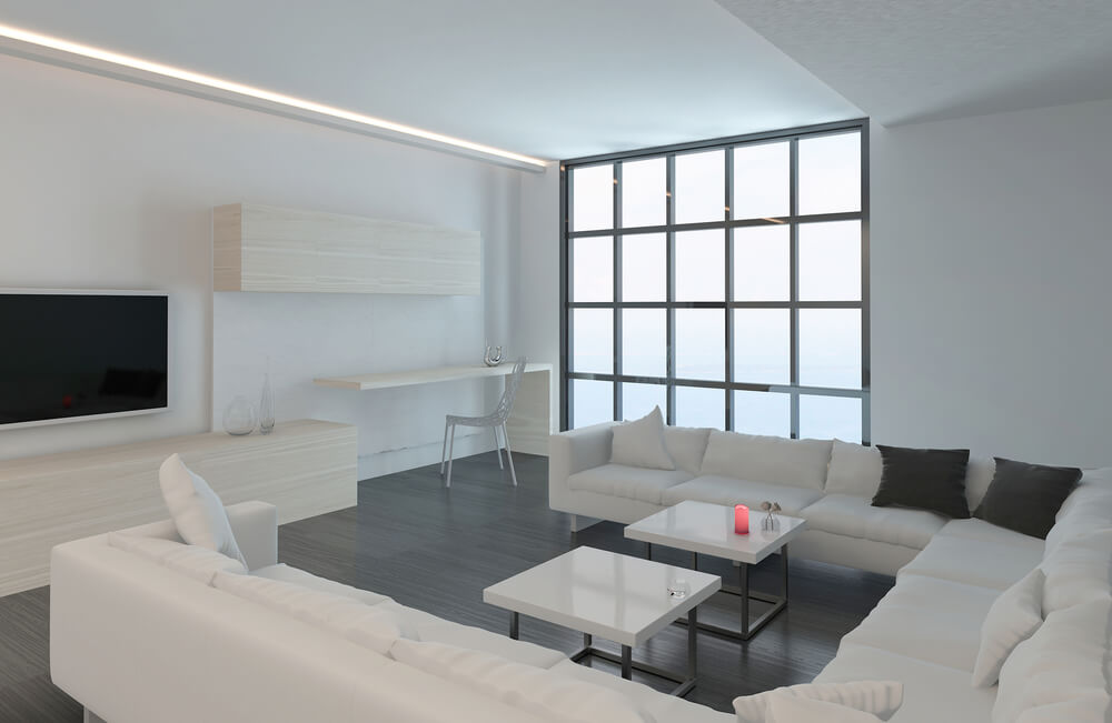 45 Contemporary Living Rooms with Sectional Sofas (Pictures) - white sectional living room