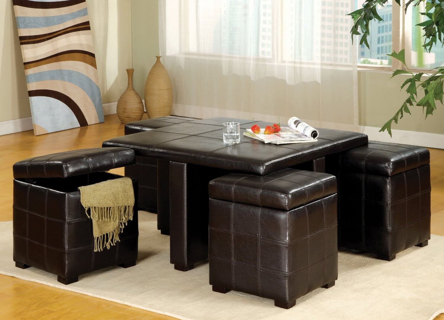 Ottoman Cocktail Table With Storage 36 Top Brown Leather Ottoman Coffee Tables