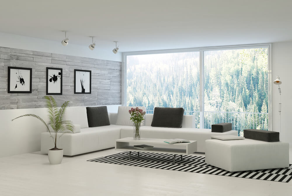 47 Beautiful Modern Living Room Ideas (in Pictures) - white leather living room furniture