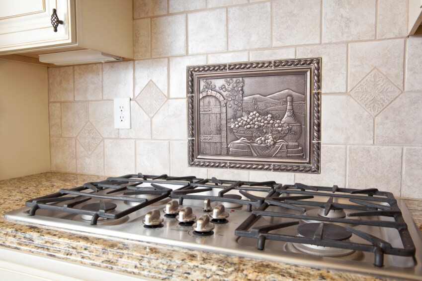 ceramic tile backsplash metal medallion range turn power kitchen remove outlet covers