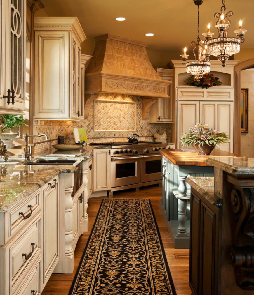 country kitchen designs country kitchen designs A corner kitchen with a runner along the floor in front of the sink and painted