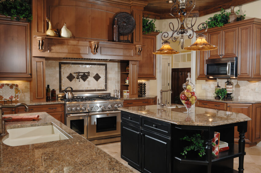brightens rich wood cabinets beige granite countertops kitchen color ideas cabinetry sets designs chic kitch eat kitchen