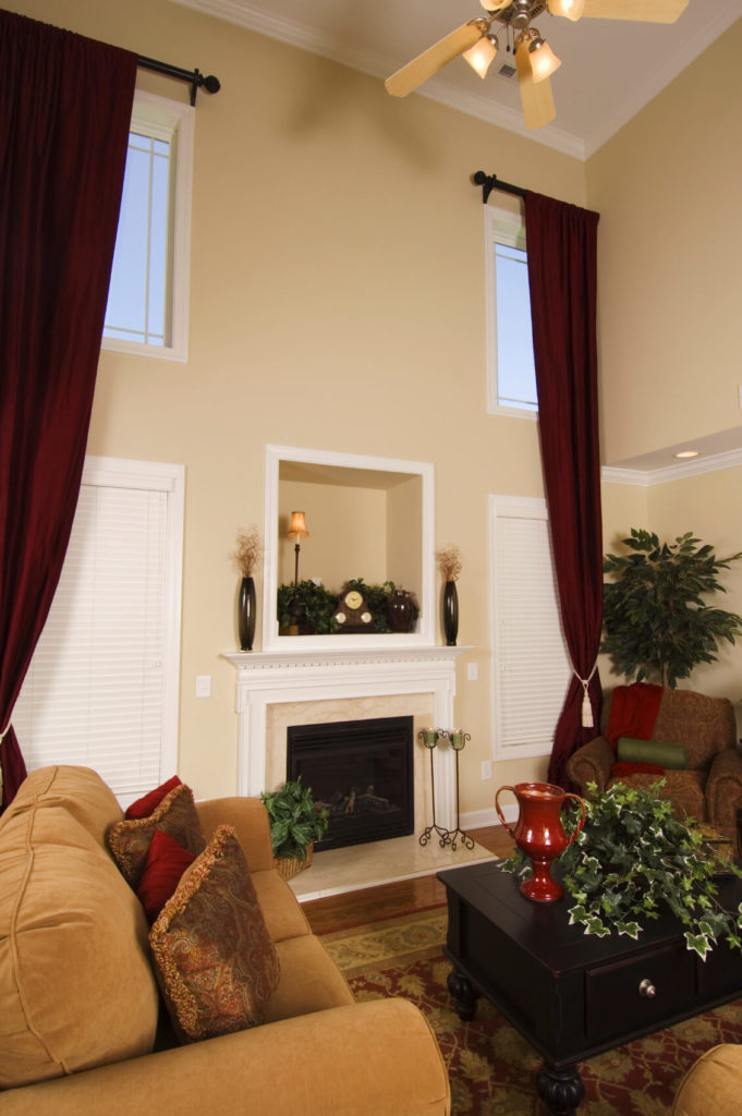 53 Living Rooms with Curtains and Drapes (Eclectic Variety) - red curtains for living room