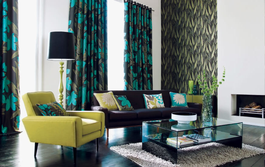 53 Living Rooms with Curtains and Drapes (Eclectic Variety) - teal living room curtains