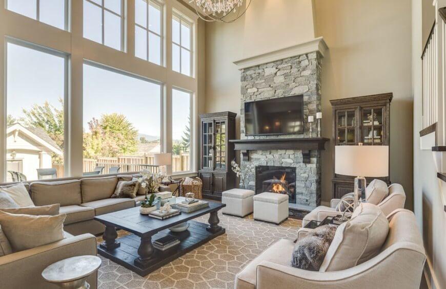 26 Stunning and Versatile Living Room Ottoman Ideas - living room ottoman