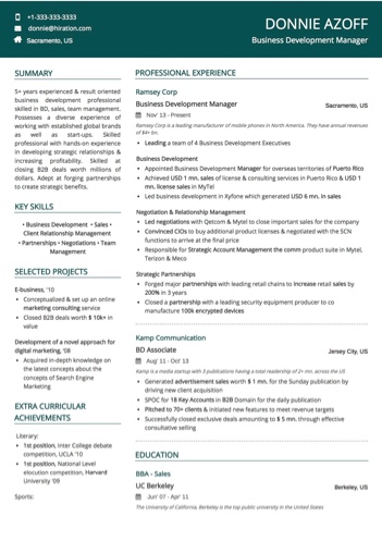 Business Development Manager Resume Sample by Hiration