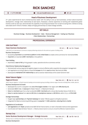 Business Development Resume Examples and Samples