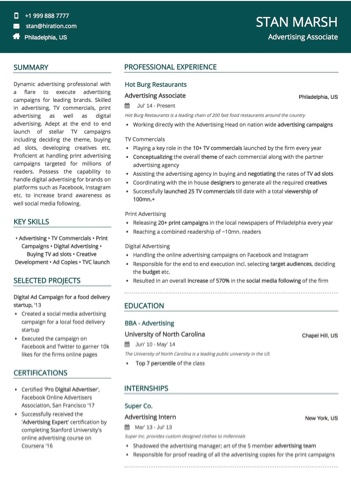 Marketing Resume Examples and Samples - digital advertising resume