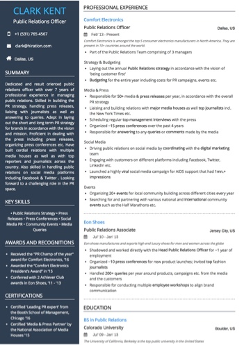 Public Relations Officer Resume Sample by Hiration