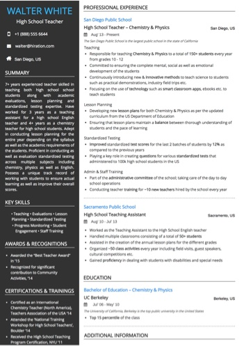Teaching  Academia Resume Examples and Samples