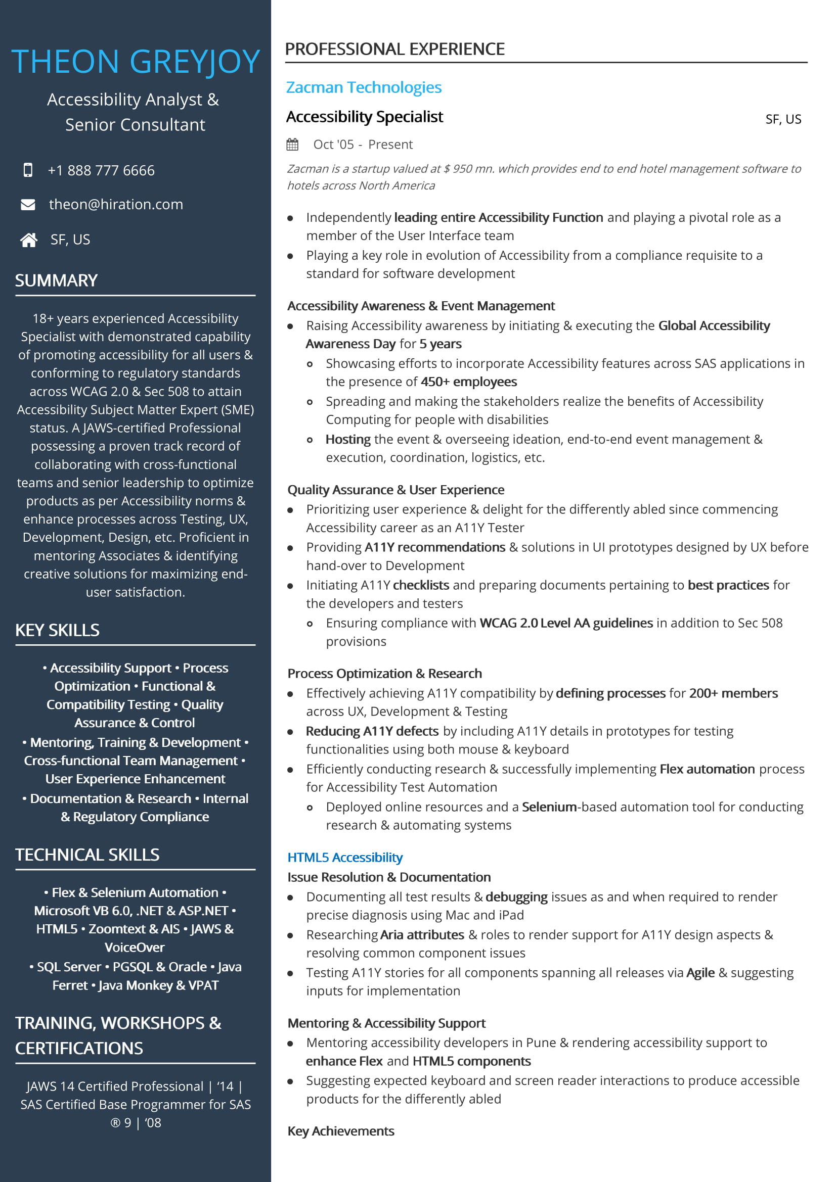 sample qa resume with accessibility testing