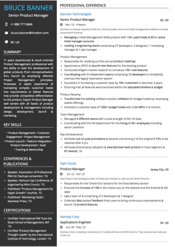 Senior Product Manager Resume Sample by Hiration