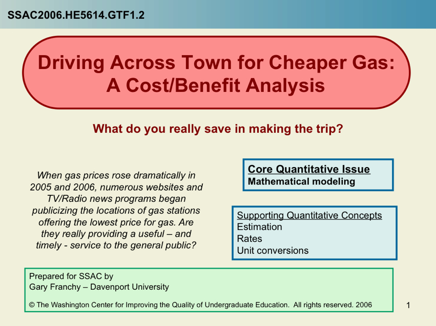 Driving Across Town for Cheaper Gas -- A Cost/Benefit Analysis