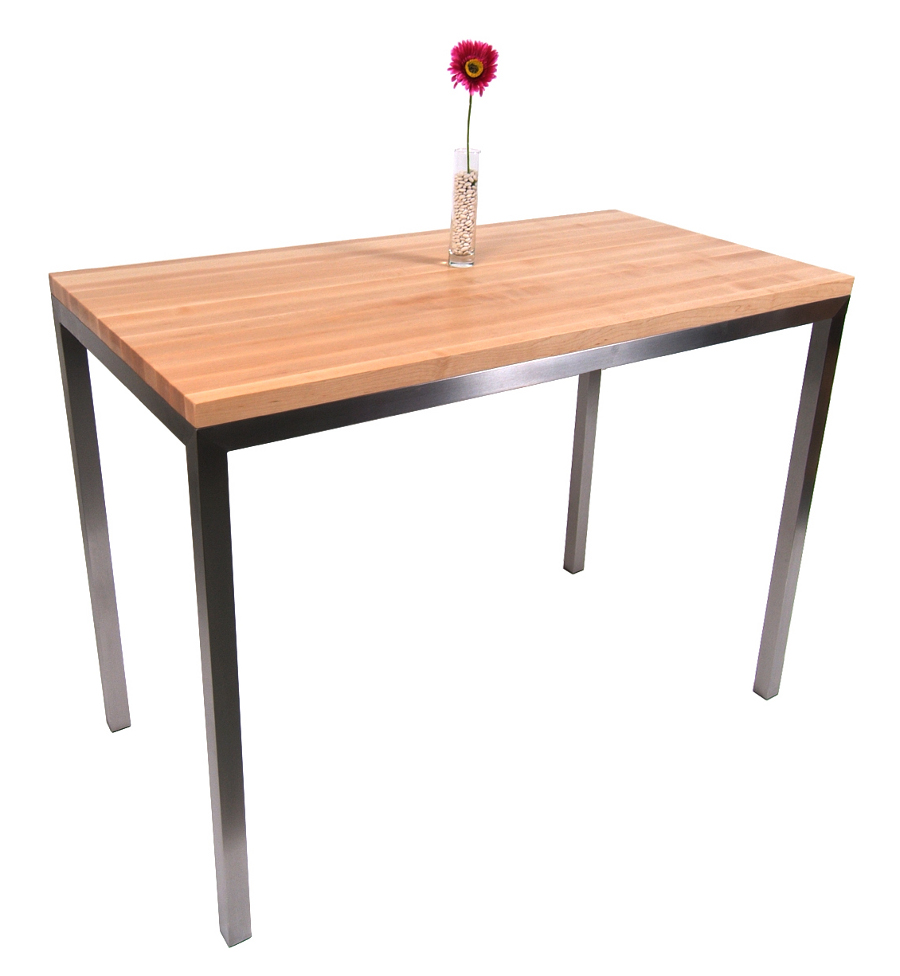 butcher block table kitchen tables Boos Maple Stainless Steel Metropolitan Center Table 48