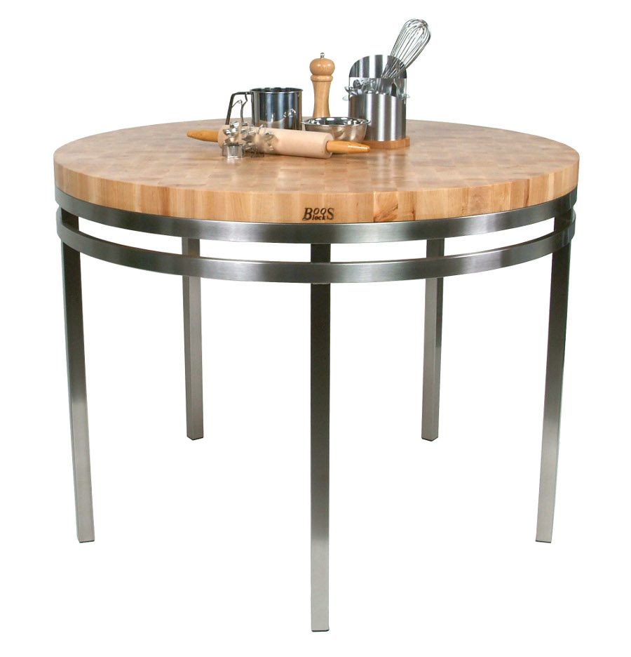 kitchen island table kitchen island tables Boos Maple Stainless Steel Metro Oasis 48 Round Dining Table