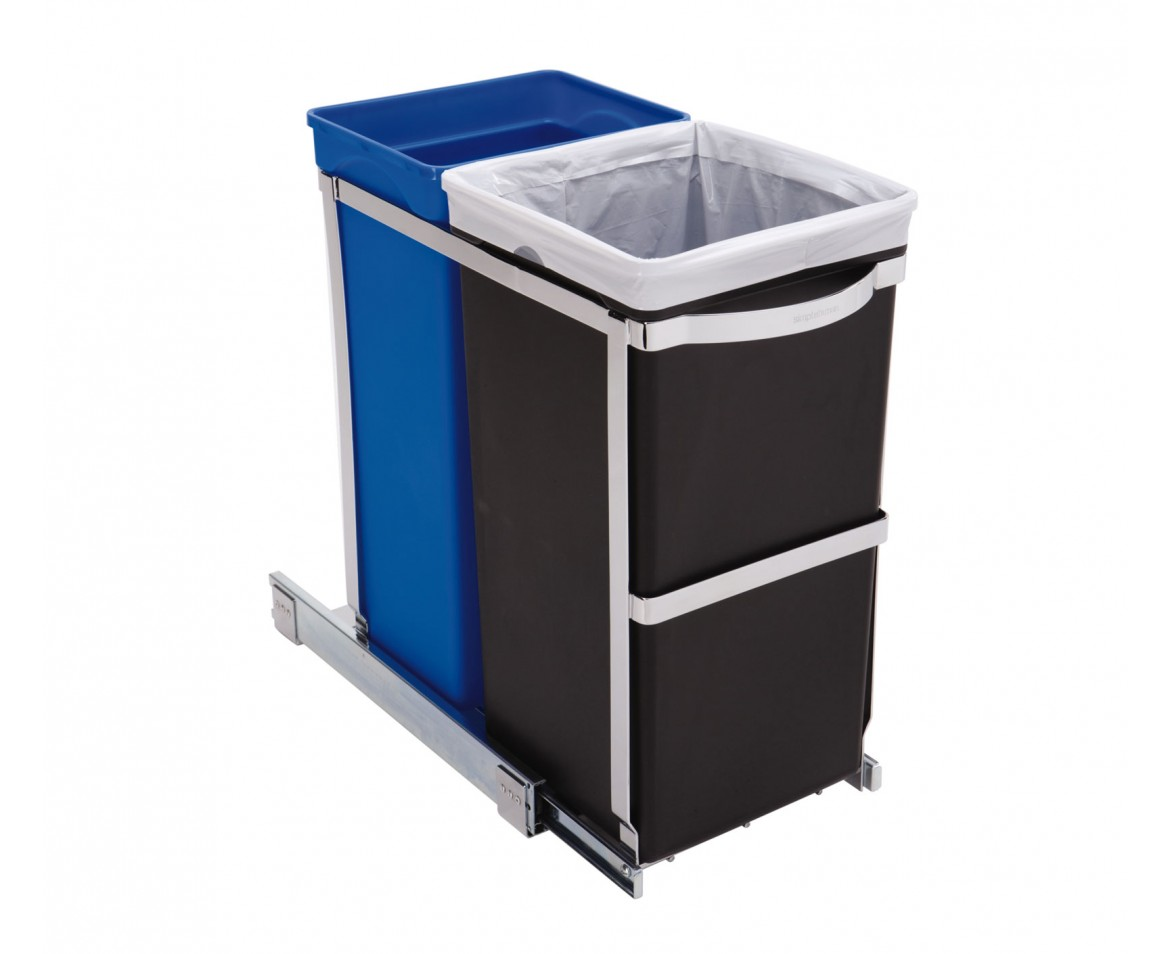 Kitchen Cabinet Trash Bin Simplehuman 35l Pull Out Trash Can And Recycler