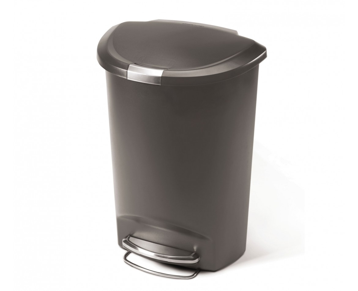 Simple Home Trash Can Simplehuman 50l Semi Round Grey Plastic Step Trash Can