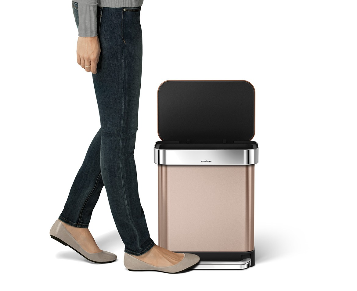 Rose Gold Trash Can Simplehuman 30l Rose Gold Stainless Steel Rectangular