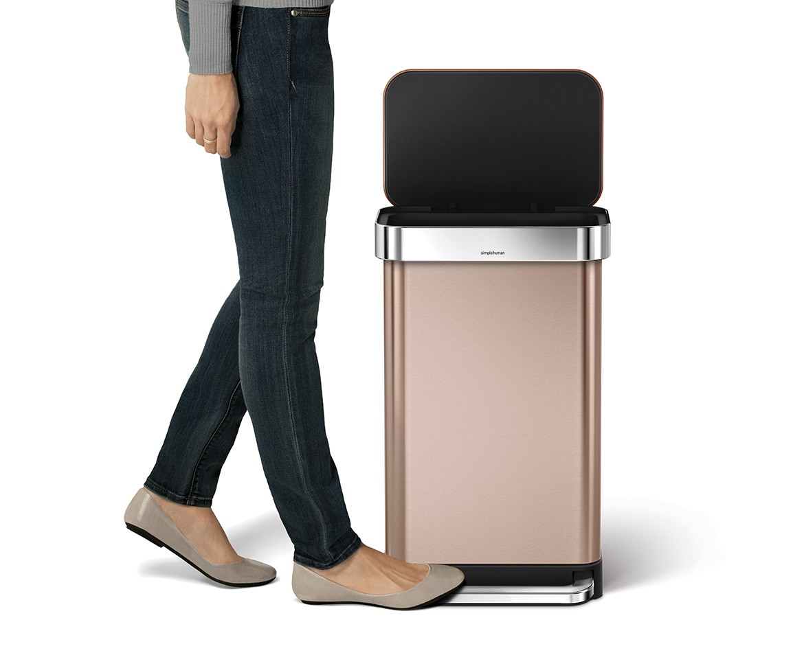 Rose Gold Trash Can Simplehuman 45l Rectangular Steel Step Trash Can W