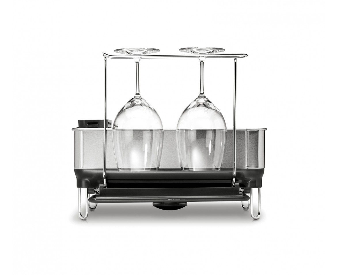 Countertop Wine Glass Holder Simplehuman Compact Steel Frame Dishrack With Wine Glass