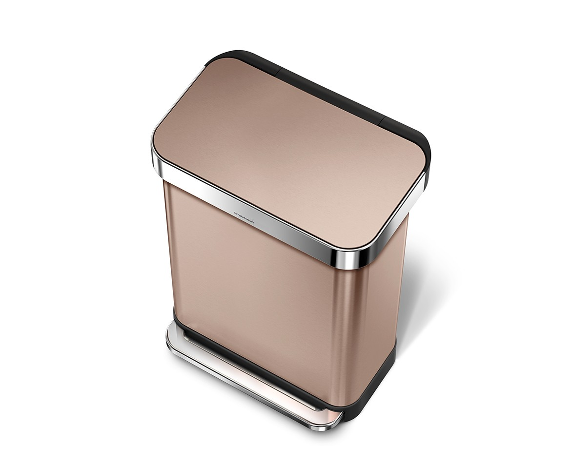 Rose Gold Trash Can Simplehuman 55 Litre Rectangular Pedal Bin With Liner