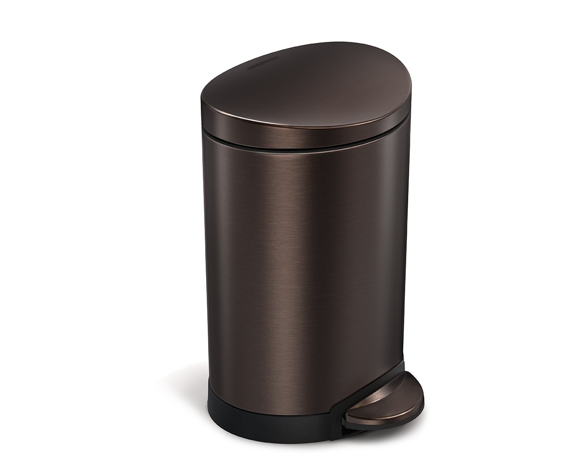 Rose Gold Trash Can Simplehuman 6l Semi Round Dark Bronze Stainless Steel