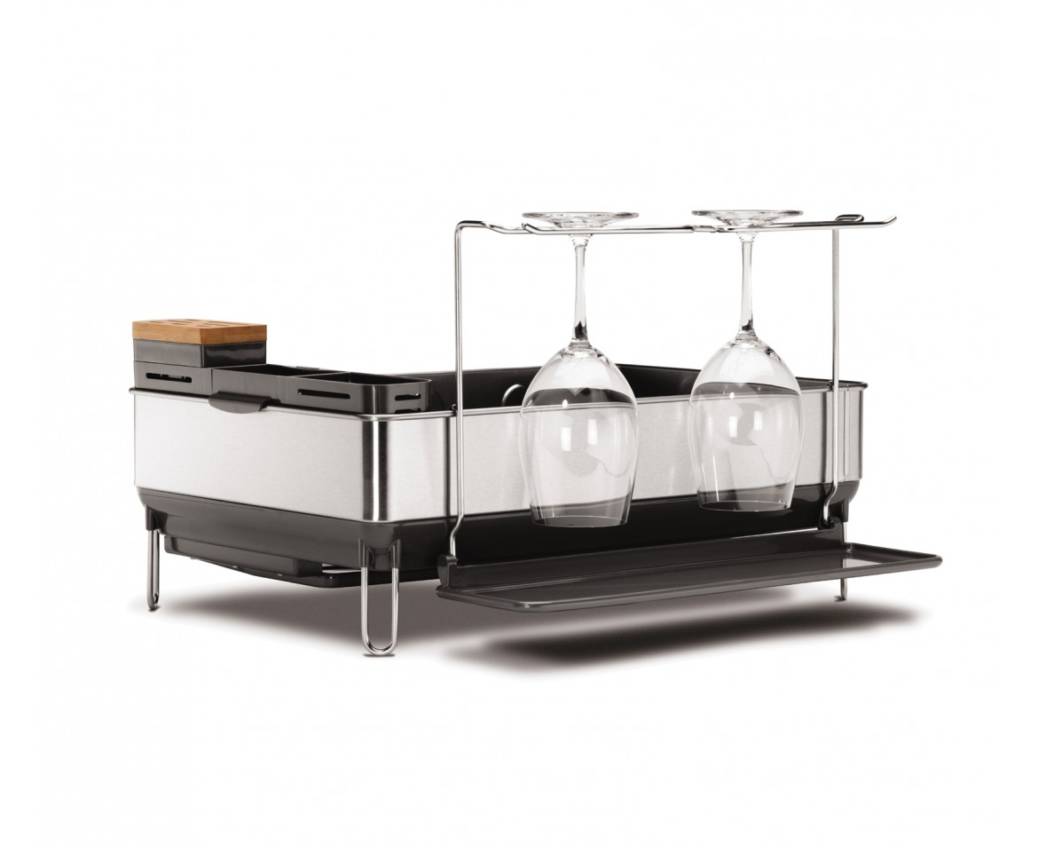 Countertop Wine Glass Holder Simplehuman Steel Frame Dishrack With Wine Glass Holder