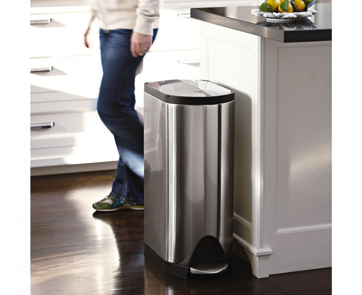 Stainless Steel Tall Kitchen Garbage Can Simplehuman 30 Litre Butterfly Pedal Bin Fingerprint