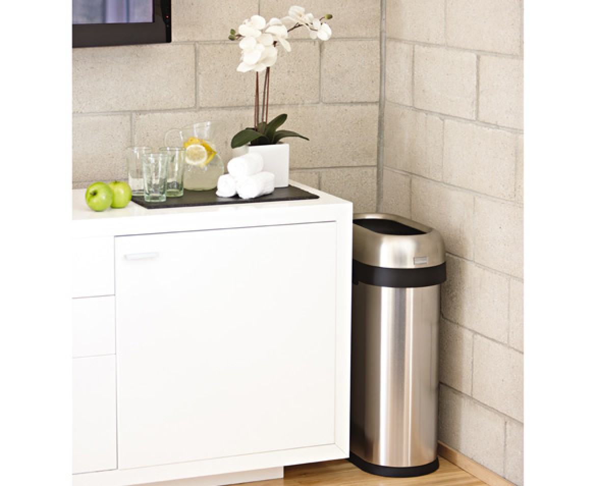 Corner Stainless Steel Trash Can Simplehuman 50l Slim Steel Open Bin