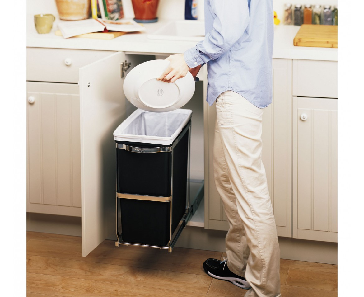Kitchen Cabinet Trash Bin Simplehuman 30l Commercial Grade Pull Out Trash Can