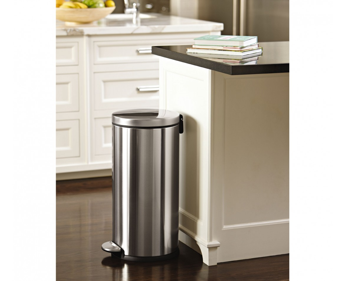 Corner Stainless Steel Trash Can Simplehuman 30l Round Steel Step Trash Can