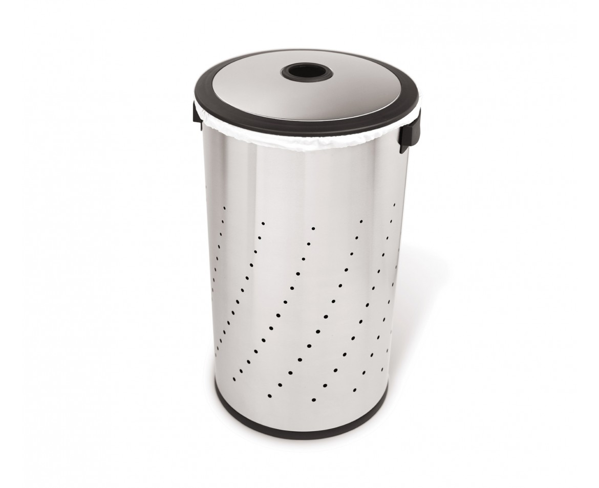 Metal Wash Bin Simplehuman Round Laundry Hamper Brushed Stainless Steel