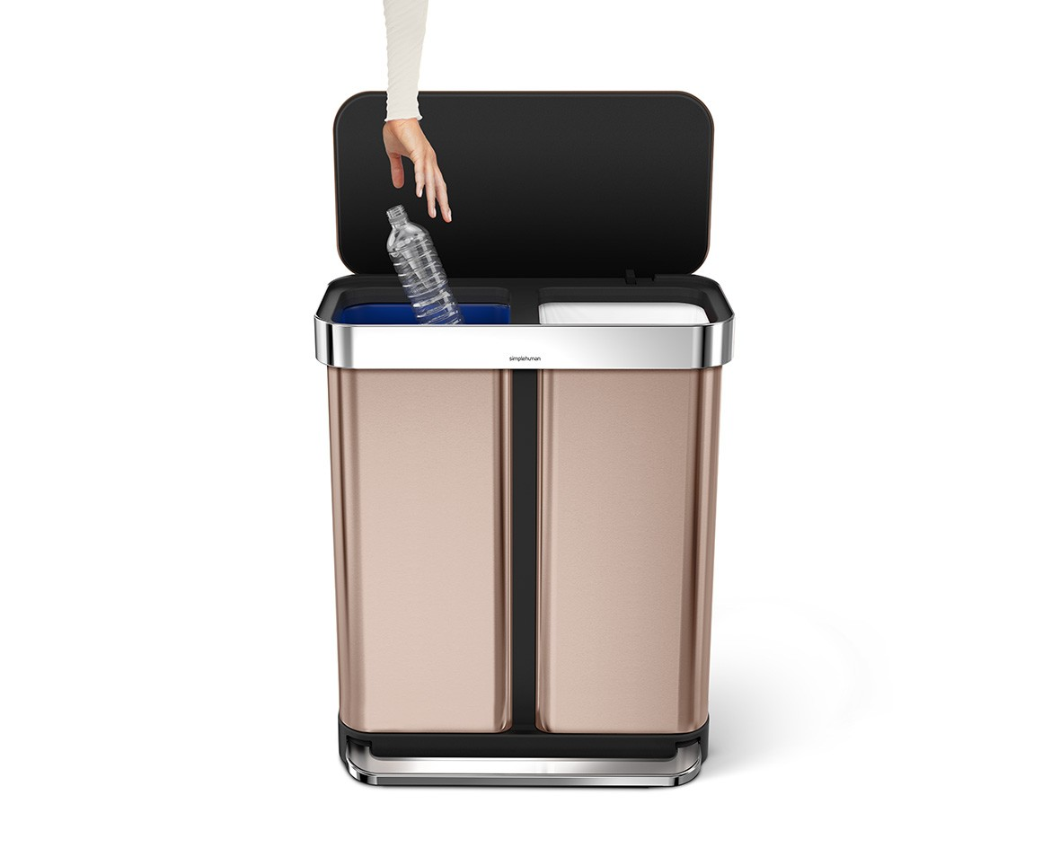 Rose Gold Trash Can Simplehuman 58l Rose Gold Stainless Steel Rectangular
