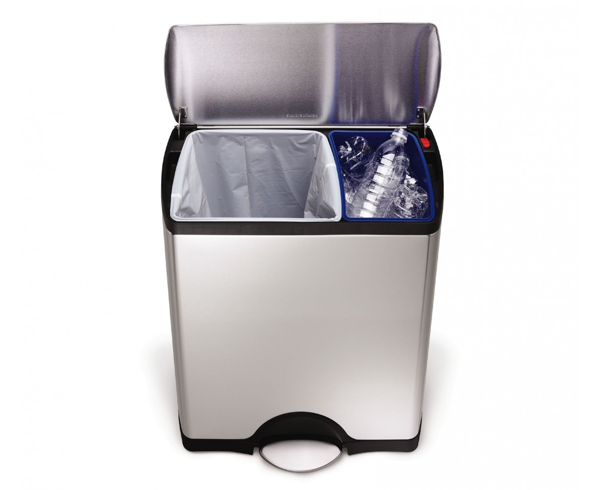 Stainless Steel Recycling Bins 46 Litre Rectangular Recycler Fingerprint Proof Stainless Steel