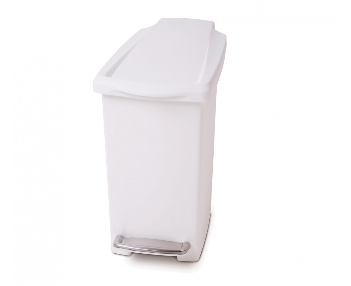Small White Trash Can With Lid 10 Litre Slim Pedal Bin White Plastic