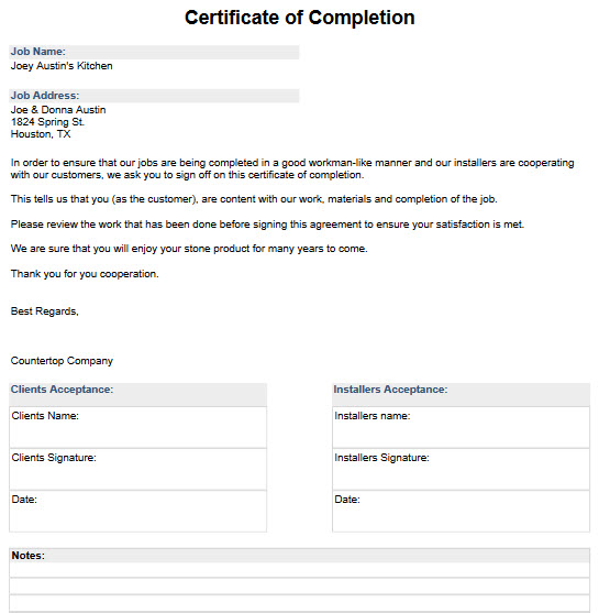 Sample Job Forms to Download and Import - Moraware CounterGo