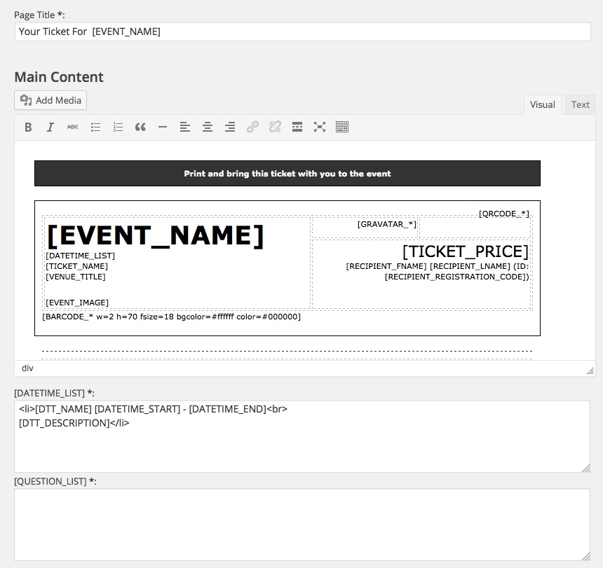 Printable Tickets - Event Smart Support