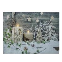 LED Lighted Country Rustic Winter Christmas Canvas Wall ...